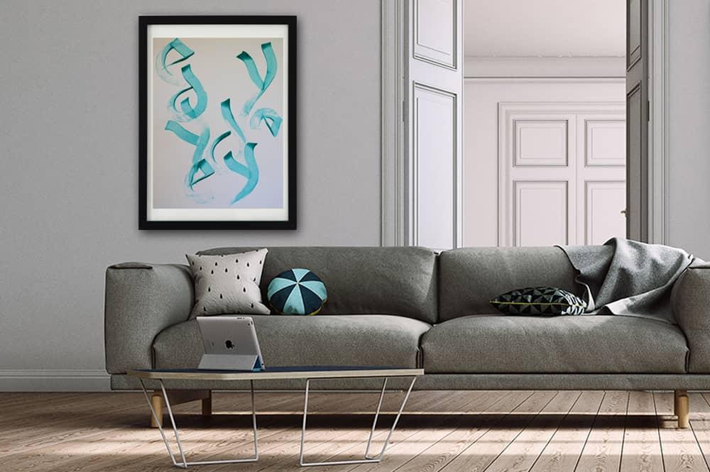 toile contemporaine calligraphie turquoise TC14_2