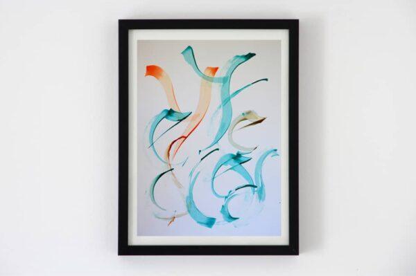 toile contemporaine calligraphie orange et turquoise TC15_1