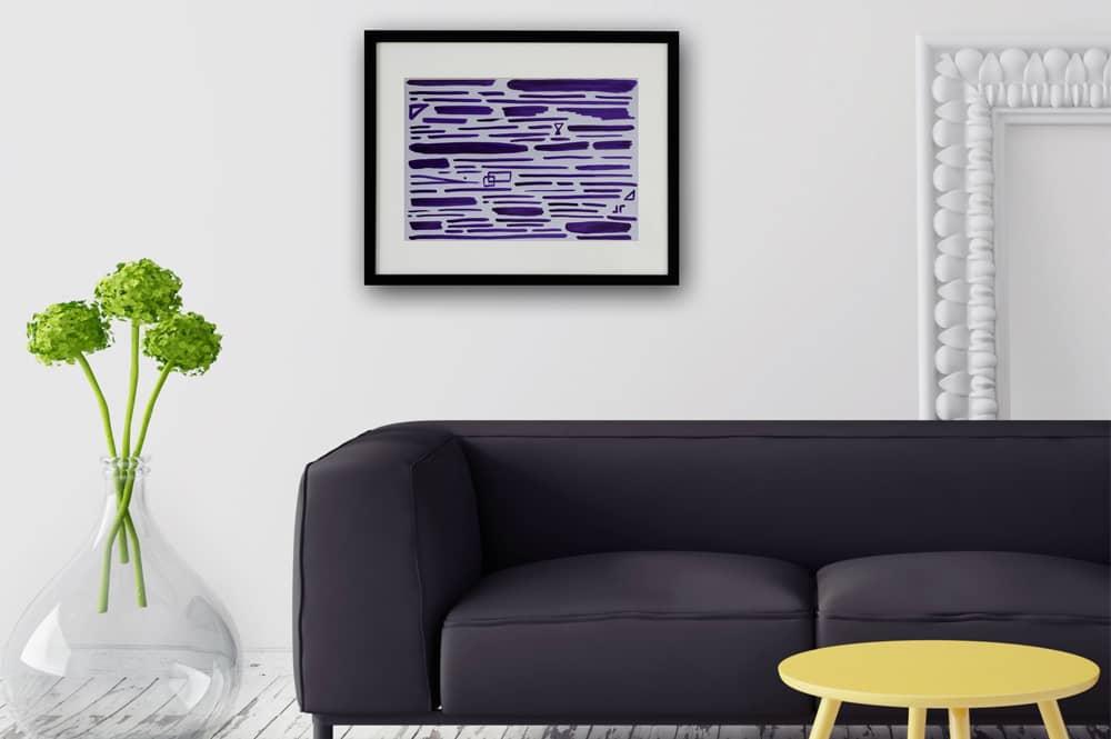 Contemporary art calligraphy purple in situ TC19